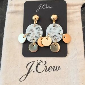 NWT J.Crew DROP STONE AND DISC EARRINGS
